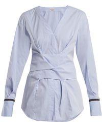 Brunello Cucinelli - Embellished-cuff Stretch-cotton Wrap Top - Lyst