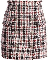Balmain - Button-embellished Tweed Mini Skirt - Lyst