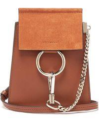 Chloé - Faye Mini Suede Panel Leather Cross Body Bag - Lyst