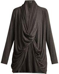 Norma Kamali - Draped Twist Front Jersey Cardigan - Lyst
