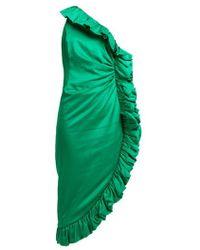 Attico - Asymmetrical Satin Dress With Volant - Lyst