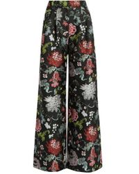 Adam Lippes - Floral Jacquard Wide Leg Trousers - Lyst