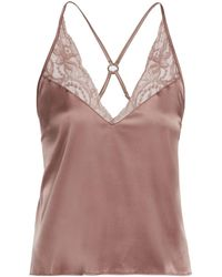 Fleur Of England - Lace-trimmed Silk Camisole Top - Lyst