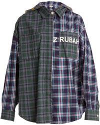 Natasha Zinko | Oversized Checked Cotton Hooded Shirt | Lyst