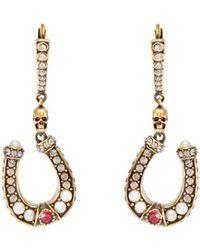 Alexander McQueen - Horseshoe Pavé Crystal Drop Earrings - Lyst