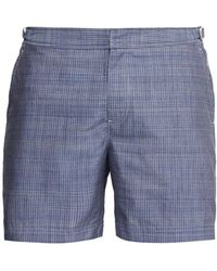 Orlebar Brown - Bulldog Check Stitched Chambray Swim Shorts - Lyst