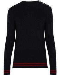 Balmain - Striped Cashmere Jumper - Lyst