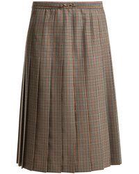 Maison Margiela - Tweed Knee-length Pleated Skirt - Lyst