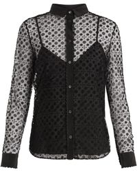 RED Valentino - Floral Polka Dot-flocked Layered Tulle Blouse - Lyst