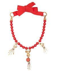 Valentino - Skull Pendant Beaded Necklace - Lyst