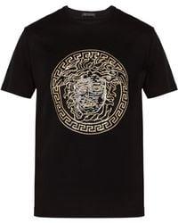 9730fee3 Versace - Medusa Head Sequinned Motif T Shirt - Lyst