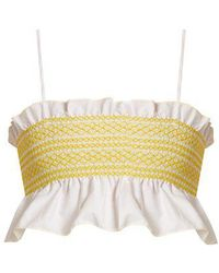 Lisa Marie Fernandez - Smocked-cotton Cropped Top - Lyst