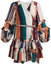 Apiece Apart Zarza Striped Linen Blend Wrap Dress