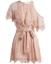 9a9385b15b2 Zimmermann - Castile Embroidered Silk Chiffon Playsuit - Lyst