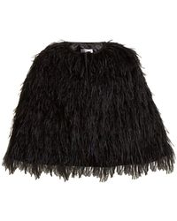 OSMAN - Raven Ostrich Feather-embellished Cape - Lyst
