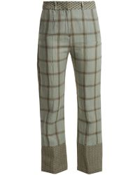 Cecilie Copenhagen - Checked Cotton And Linen-blend Trousers - Lyst