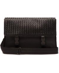 Bottega Veneta - Intrecciato Leather And Canvas Messenger Bag - Lyst