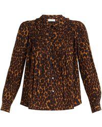 MASSCOB - Leopard-print Ruffled-collar Blouse - Lyst