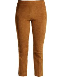 Vince - Cropped Suede Trousers - Lyst