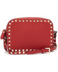 Valentino - Rockstud Camera Leather Cross Body Bag - Lyst