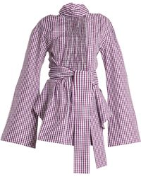 Teija - Cut Out Cotton Gingham Wrap Top - Lyst