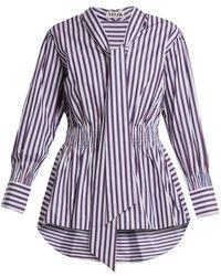 Teija - Striped Tie Neck Cotton Top - Lyst