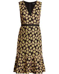 Saloni - Tracy Floral-embroidered Dress - Lyst