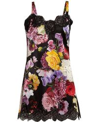 Dolce & Gabbana - Floral Print Lace Trimmed Satin Slip Dress - Lyst