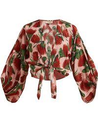 Adriana Degreas - Fiore Floral Print Silk De Chine Blouse - Lyst