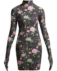 Vetements - Floral Print Glove Sleeved Jersey Mini Dress - Lyst