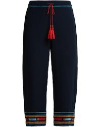 Talitha - Embroidered Silk Crepe De Chine Trousers - Lyst