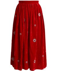 Jupe by Jackie | Strock Floral-embroidered Silk-velvet Skirt | Lyst