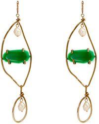 Marni - Stone Embellished Faux Pearl Drop Earrings - Lyst