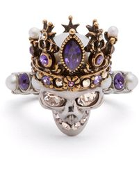 Alexander McQueen - Queen Crystal And Pearl-embellished Skull Ring - Lyst
