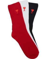 AMI - Logo Embroidered Cotton Blend Sock Set - Lyst