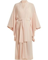 Norma Kamali - Robe de chambre en crêpe nouée à la taille - Lyst