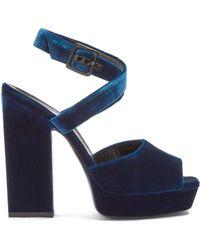 Saint Laurent | Debbie Platform-heel Velvet Sandals | Lyst