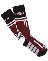 Prada - Patterned Stretch Knit Socks - Lyst