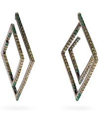 Lynn Ban - Ombré Diamond & Rhodium Geometric Earrings - Lyst