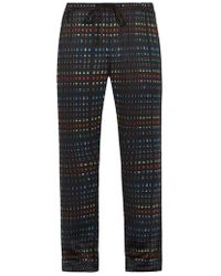 Meng - Rectangle Print Silk Satin Pyjama Trousers - Lyst