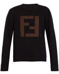 Fendi - Logo-appliqué Wool Sweatshirt - Lyst
