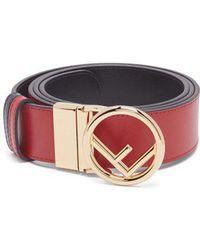 Fendi - Logo Buckle Leather Belt - Lyst