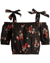 Rebecca Taylor - Marguerite Floral Print Cotton Cropped Top - Lyst