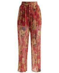 Zimmermann - Melody Floral-print Silk Trousers - Lyst