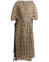 Balenciaga - Drawstring-waist Pleated Dollar-print Dress - Lyst