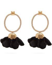 Elise Tsikis - Levea Rope Hoop Flower Drop Gold Plated Earrings - Lyst