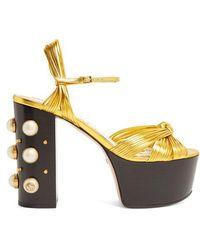 Gucci - Allie Embellished-heel Platform Sandals - Lyst