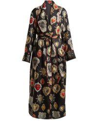 Dolce & Gabbana - Heart-print Tie-waist Silk Robe - Lyst