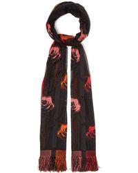 Alexander McQueen - Floral Silk Blend Fil Coupé Scarf - Lyst