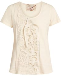 By Walid   Jodie Lace-insert Cotton T-shirt   Lyst